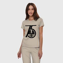 Пижама хлопковая женская The Hunger Games 75 цвета миндальный — фото 2