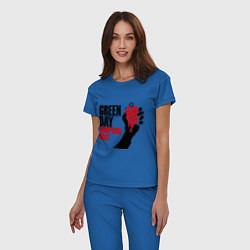 Пижама хлопковая женская Green Day: American idiot цвета синий — фото 2