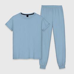 Пижама хлопковая женская Без дизайна цвета мягкое небо — фото 1