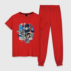 Пижама хлопковая женская Лига Справедливости цвета красный — фото 1