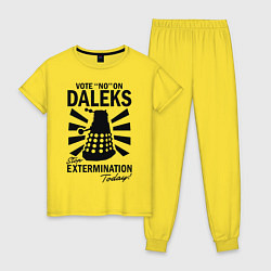 Пижама хлопковая женская Доктор Кто, Далеки цвета желтый — фото 1