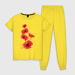 Пижама хлопковая женская Маки цвета желтый — фото 1