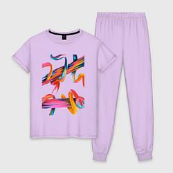 Пижама хлопковая женская Извилины цвета лаванда — фото 1