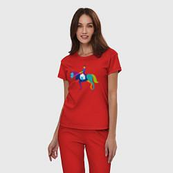 Пижама хлопковая женская Всадник на коне цвета красный — фото 2