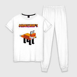 Пижама хлопковая женская Minecraft - лиса цвета белый — фото 1