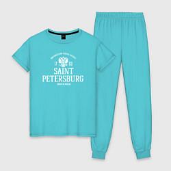 Пижама хлопковая женская Санкт-ПетербургBorn in Russia цвета бирюзовый — фото 1