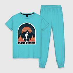 Пижама хлопковая женская Бег цвета бирюзовый — фото 1