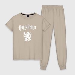 Пижама хлопковая женская Гарри Поттер цвета миндальный — фото 1
