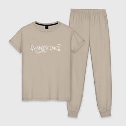 Пижама хлопковая женская Evanescence цвета миндальный — фото 1