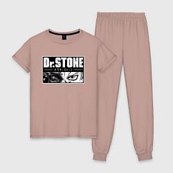 Пижама хлопковая женская Доктор Стоун цвета пыльно-розовый — фото 1