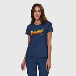 Пижама хлопковая женская Rowdy цвета тёмно-синий — фото 2