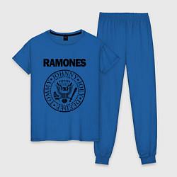 Пижама хлопковая женская RAMONES цвета синий — фото 1