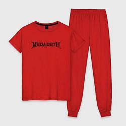 Пижама хлопковая женская Megadeth цвета красный — фото 1