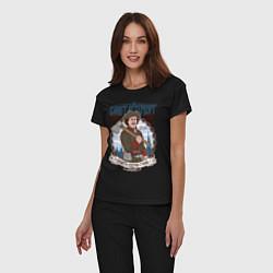 Пижама хлопковая женская Санкт-Петербург цвета черный — фото 2