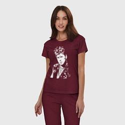 Пижама хлопковая женская Сектор газа цвета меланж-бордовый — фото 2