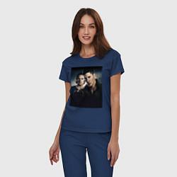 Пижама хлопковая женская Winchester Brothers цвета тёмно-синий — фото 2