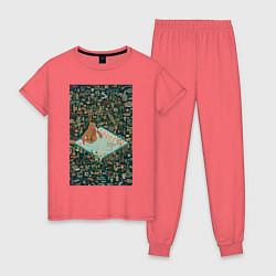 Пижама хлопковая женская BoJack Horseman цвета коралловый — фото 1