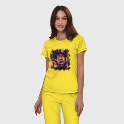 Пижама хлопковая женская Ice Cube цвета желтый — фото 2
