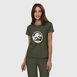 Пижама хлопковая женская Jurassic World цвета меланж-хаки — фото 2