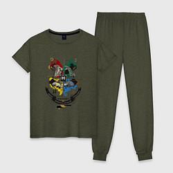 Пижама хлопковая женская Гарри Поттер цвета меланж-хаки — фото 1