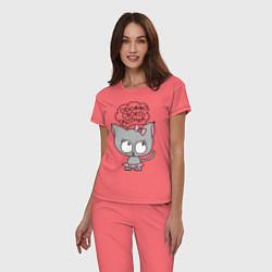 Пижама хлопковая женская Обожаю своего котика цвета коралловый — фото 2