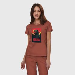 Пижама хлопковая женская Godzilla цвета кирпичный — фото 2