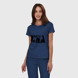 Пижама хлопковая женская Mixed martial arts цвета тёмно-синий — фото 2