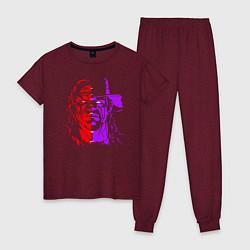 Пижама хлопковая женская Brothers of Destruction цвета меланж-бордовый — фото 1