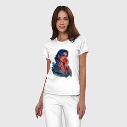 Пижама хлопковая женская Белоснежка цвета белый — фото 2