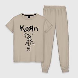 Пижама хлопковая женская Korn цвета миндальный — фото 1