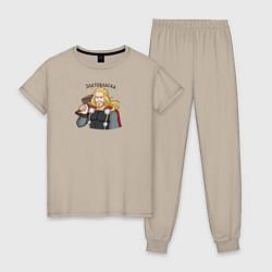 Пижама хлопковая женская Златовласка цвета миндальный — фото 1