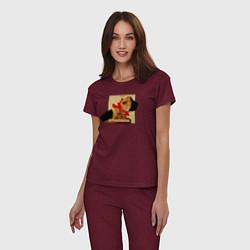 Пижама хлопковая женская Макс Барских: Вспоминать цвета меланж-бордовый — фото 2