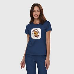 Пижама хлопковая женская Bomb Hills цвета тёмно-синий — фото 2