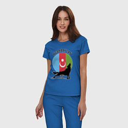 Пижама хлопковая женская Азербайджан цвета синий — фото 2