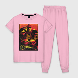 Пижама хлопковая женская The Incredibles цвета светло-розовый — фото 1