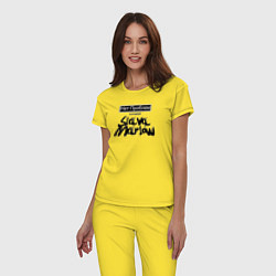 Пижама хлопковая женская Slava Marlow цвета желтый — фото 2