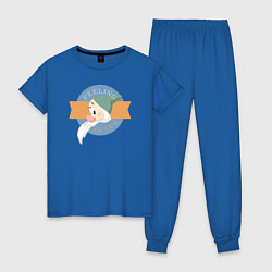 Пижама хлопковая женская Скромник цвета синий — фото 1