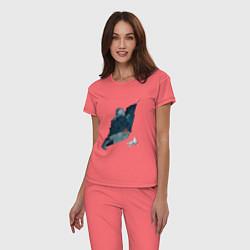 Пижама хлопковая женская Бегущий по лезвию цвета коралловый — фото 2