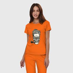 Пижама хлопковая женская Стильный барбер цвета оранжевый — фото 2
