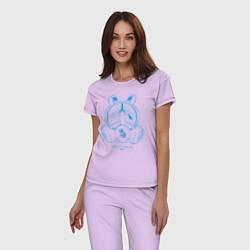 Пижама хлопковая женская I DID IT FOR ME цвета лаванда — фото 2