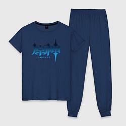 Пижама хлопковая женская Genshin Impact цвета тёмно-синий — фото 1