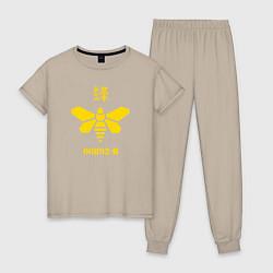Пижама хлопковая женская 00892-B цвета миндальный — фото 1