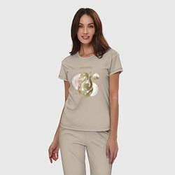 Пижама хлопковая женская Слизерин цвета миндальный — фото 2