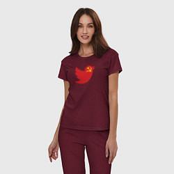 Пижама хлопковая женская Team Trump цвета меланж-бордовый — фото 2