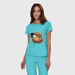 Пижама хлопковая женская Dont Starve цвета бирюзовый — фото 2
