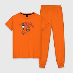 Пижама хлопковая женская My hero! цвета оранжевый — фото 1