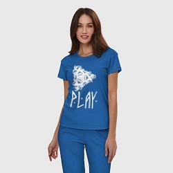 Пижама хлопковая женская Рингерике Play цвета синий — фото 2