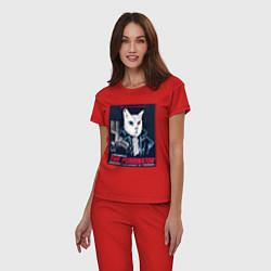 Пижама хлопковая женская Кот Терминатор пародия цвета красный — фото 2