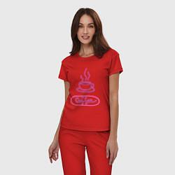 Пижама хлопковая женская Кофе цвета красный — фото 2
