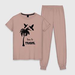 Пижама хлопковая женская Время путешествовать цвета пыльно-розовый — фото 1